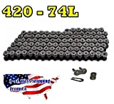 420 Motorcycle Chain 74-Link with 1 Connecting Link Natural, Go Kart, Mini Bike