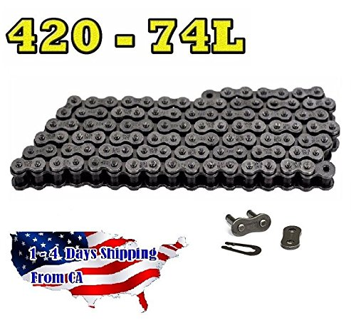 - 420 Motorcycle Chain 74-Link with 1 Connecting Link Natural, Go Kart, Mini Bike