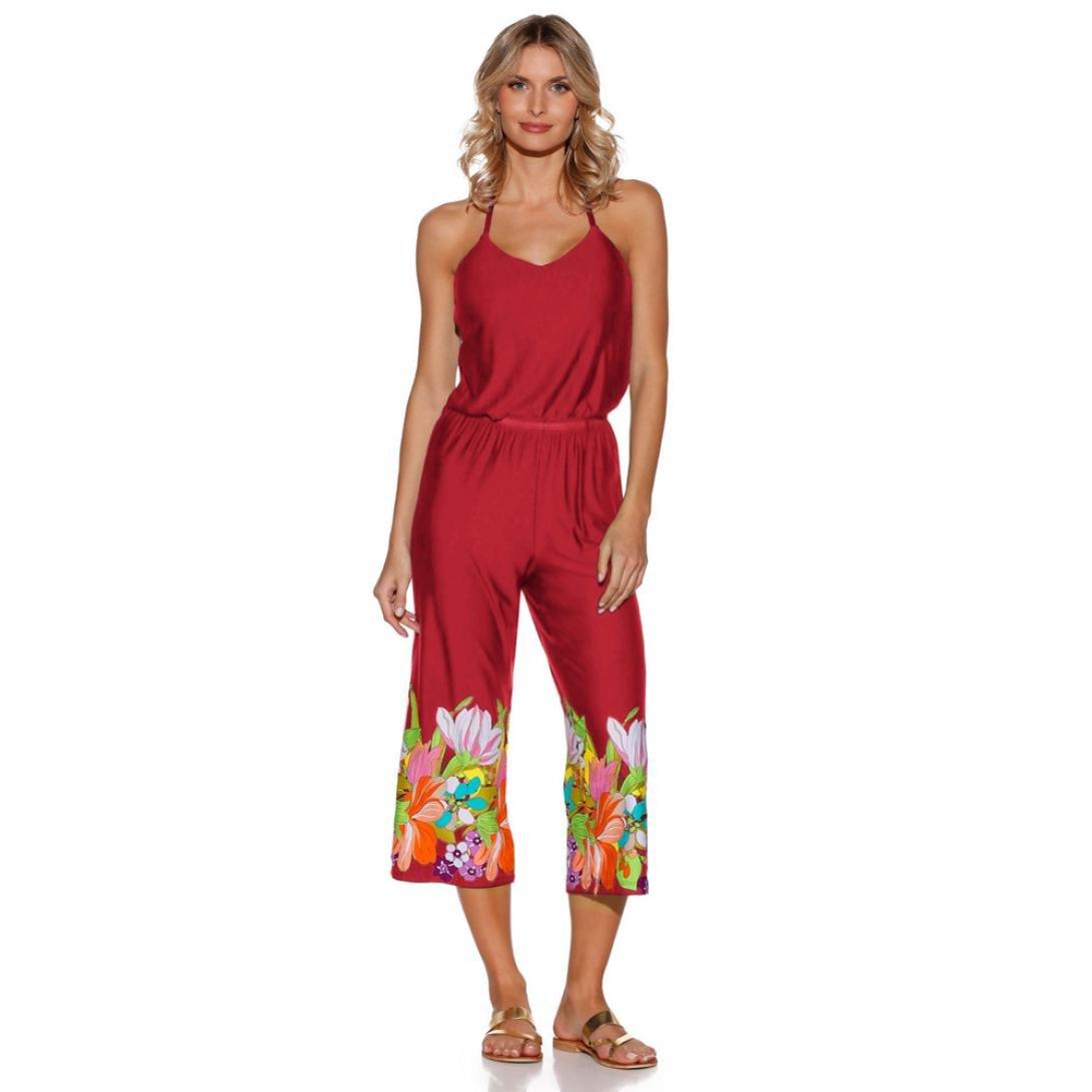 fa9b88c6713 Amazon.com  2018 Summer Vintage Boho Jumpsuit