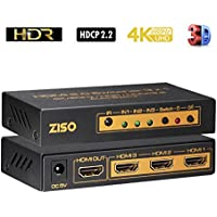 HDMI 2.0 Switcher, 3 in 1 out , ZISO 3 Port HDMI Switch in Splitter Switch with IR Wireless Remote, 4K@60Hz 4;4:4 HDR HDCP2.2 3D (HD-SW3A)