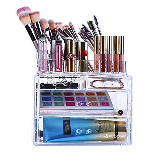 Makeup Organizer, VICOODA Acrylic Cosmetic Storage Drawers Jewelry Display Boxes Case, 4 Drawers and Almighty Top 16 Compartments Brushes Pallets Powder Foundations, Clear and Cube Two Pieces Set (Kardashian Makeup Organizer)
