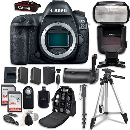 Canon EOS 5D Mark IV Digital SLR Camera Bundle (Body Only) + Professional Accessory Bundle (14 (5d Digital Slr Camera Body)