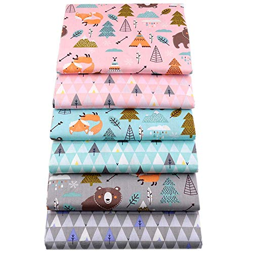 Hanjunzhao Zoo Animal Print Collection Precut Quilting Fabric Fat Quarters Bundle for Sewing Crafting,18