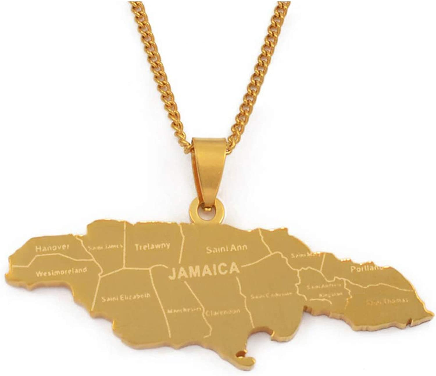 Life-Center-Store Map of Jamaica with City Pendant Necklaces for Women Men Stainless Steel Jamaica Maps Chains Jewelry Gifts
