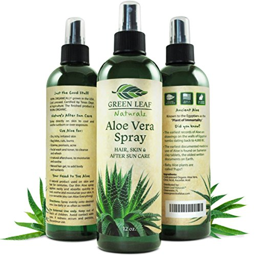 Green Leaf Naturals Organic Aloe Vera Gel Spray for Skin, Hair, Face, After Sun Care and Sunburn Relief - 99.8% Organic - 100% Pure and Natural Skin Care Moisturizer - Unscented, 12 ounces ()