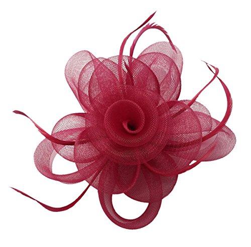 Fascinator Hair Clip Headband Feather Flower Hat Mesh Cocktail Tea Party F Burgundy