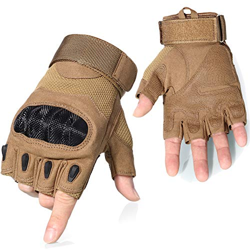 AXBXCX Touch Screen Plastic Hard Knuckle Fingerless Tactical Gloves for Army Military Motorcycle Fishing Cycling Racing Hunting Hiking Airsoft Paintball Shooting Brown-L