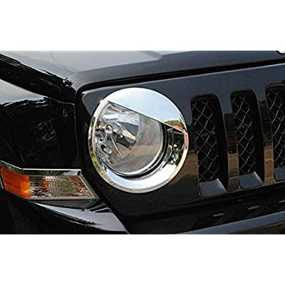 Bolaxin Chrome Silver Bezels Front Light Headlight Angry Bird Style Trim Cover ABS for Jeep Patriot 2011-2020 Model: Automotive