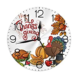 Dujiea Thanksgiving Turkey Pumpkin Maple Leaf Round Wall Clock Silent Non Ticking Battery Operated 9.5 Inch for Student Office School Home Decorative Clock Art