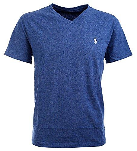 Polo+Ralph+Lauren+Men%27s+Classic+Fit+V-Neck+T-Shirt+Cotton+%28XX-Large%2C+Gentian+Blue+Heather%29