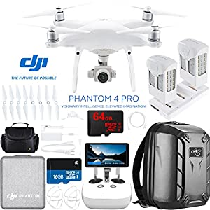 DJI Phantom 4 Pro+ Quadcopter Drone with the All-New DJI Phantom Camera Plus Extra Battery + Charging Hub and Custom Backpack 64GB Memory Bundle (CP.PT.000549) by DJI