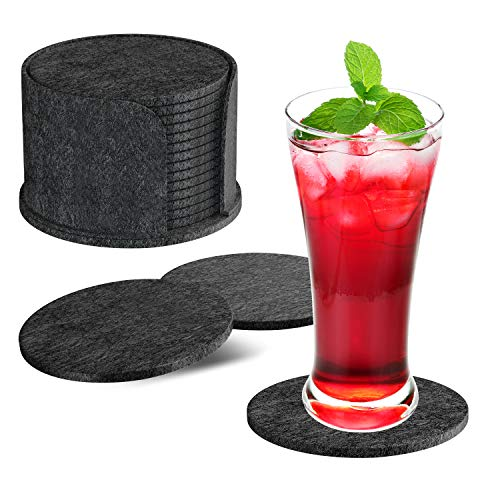 HOTERB Coasters with Holder,Set of 14 Drink Coasters with Felt Box Non Slip and Absorbent Coasters Black,Coasters Set Felt Coasters for Either Hot or Wet Glasses Cups,Mugs,Bowls