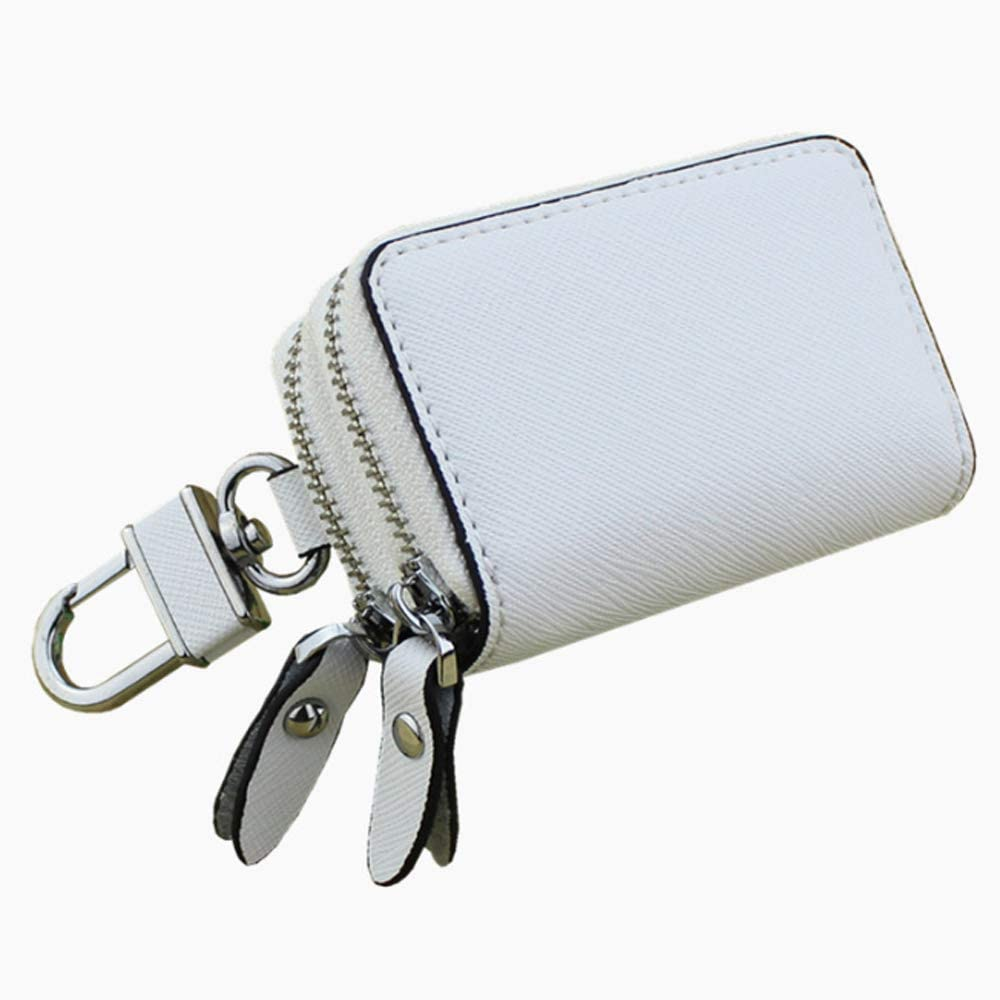 Shengjuanfeng Womens Wallet Cross-Stitched Leather Key Case Popular Double-Layer Zipper Car Key Case Color : White, Size : S