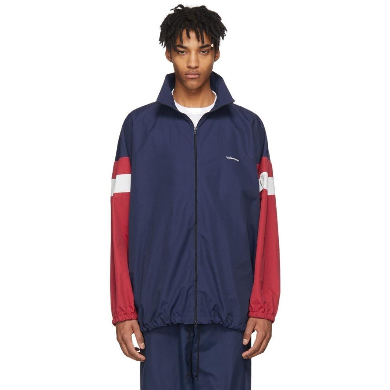 (バレンシアガ) Balenciaga メンズ アウター ジャージ Navy Logo Track Jacket [並行輸入品] B07D15Z55R   44
