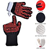 MYLINIA Extreme Heat Resistant BBQ Grill Oven Gloves, Anti-Slip Pot Holder! Made with Cotton and Aramid,Washable!