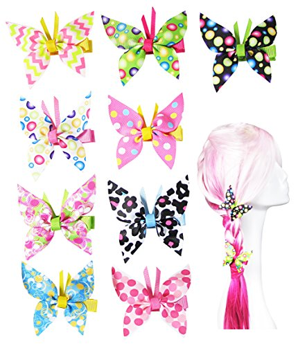Hipgirl 9pc Piece 1.75 Inch Metal Hair Bow Hair Clips-Grosgrain Ribbon No Slip Grip Metal Barrettes for Toddler Girls Teens Babies Children Kids Women Adults Beauty Accessories Assorted Color