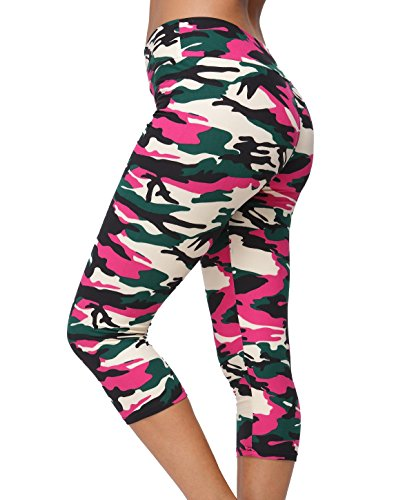 A-Wintage Women's Ultra Soft Printed Capri Leggings 3/4 Length High Waisted Yoga Leggings Camo Pink