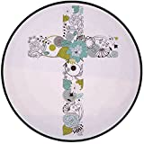 Printing Round Rug,Baptism,Cross Made from Flowers Blessing Blossom newborn Catholic Party Illustration Mat Non-Slip Soft Entrance Mat Door Floor Rug Area Rug For Chair Living Room,Seafoam Avocado Gre