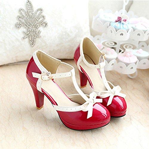 YIBLBOX T Strap Bows Womens Platform High Heel Dress Pumps Shoes Party Sandals Red luVuPvkEN