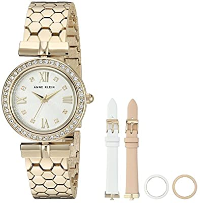 Anne Klein Women's AK/3140INST Swarovski Crystal Accented Gold-Tone Bracelet Watch with Interchangeable Bezel and Strap Set