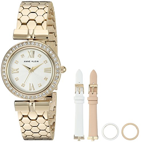 Crystal Gold Tone Metal - Anne Klein Women's AK/3140INST Swarovski Crystal Accented Gold-Tone Bracelet Watch with Interchangeable Bezel and Strap Set