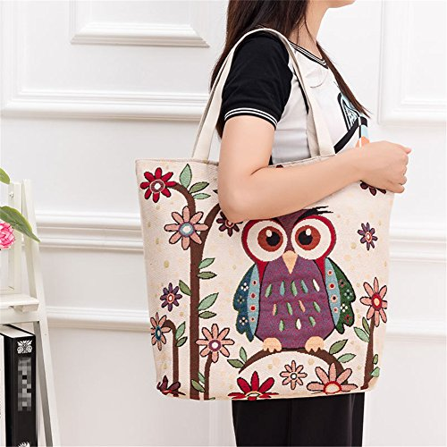 Shopping Tote Bag Owl Printed Handbags Shoulder Beach Storage Cdet Women Casual Canvas Bag 1X Bag Lovely OPwUI