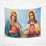 Christian Religious Church Gifts Virgin Mary and Jesus Christ Cotton Linen Wall art Hippie Tapestries Hanging Bedroom Living Room Dorm Decor Size 60 X 51 inches