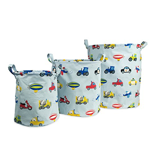 (Dream Factory Trains and Trucks Tractor Storage Bin Organizer, Small: 9 x 10 inches; Medium 12 x 13 inches; Large 15 x 17 inches, Multicolor)