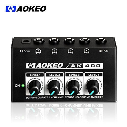 Aokeo Super Compact 4-Channel Stereo Headphone Amplifier with DC 12V Power Adapter for Sound Reinforcement, Studio, Stage, Choir, Features Ultra Low Noise, Premium Sonic Quality (AK-400)