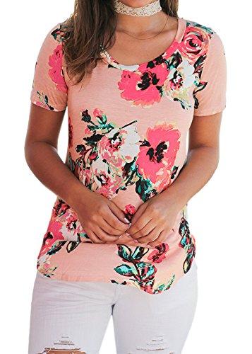 Blusa estampada floral para mujer con mangas cortas Camiseta Rosado