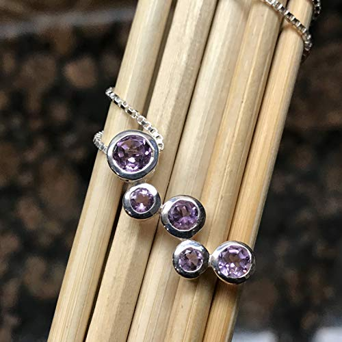 Natural 2.5ct Purple Amethyst 925 Solid Sterling Silver Journey Necklace 16