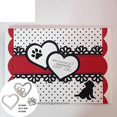 Dies Scrapbooking Scrapbook Heart Dog Paw Border Metal Cut Cutting Craft Easter Die Embossing Stamps New Stencils Template Handmade DIY
