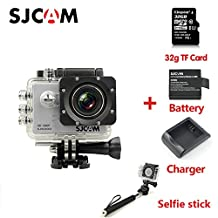 Original SJCAM SJ5000 Sport Action Camera Camcorder 1080P 170° Lens Waterproof Outdoor Sports Riding Diving Skiing Car DVR DV with 32G TF Card Extra Battery Charger Selfie stick Silver