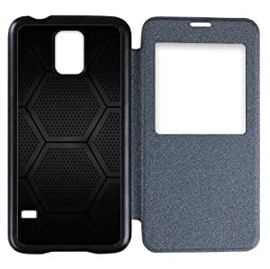 Galaxy S5 Case,Popular Convenient Answer Incoming Calls View Time Table Talk Caller Id Window Hexagons Block Pattern Flip Case Cover