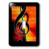 Florene - Music - Image of Big Black Clef On Orangey Background - Light Switch Covers - single toggle switch (lsp_234307_1)