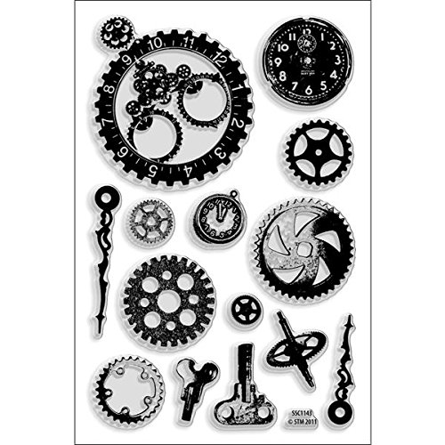 STAMPENDOUS SSC1143 Perfectly Clear Stamp, Steampunk Gears Image by STAMPENDOUS