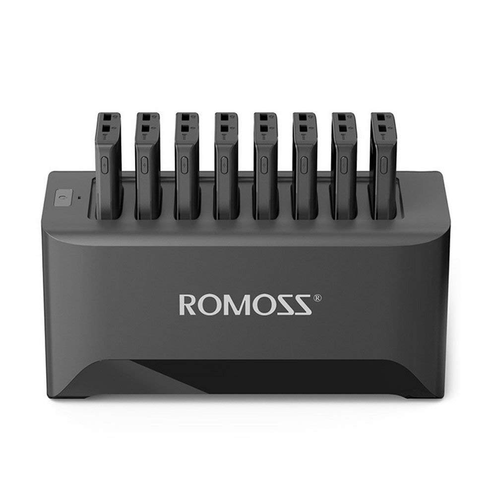 ROMOSS Portable Charging Station Set with 8PCS 10000mAh Power Bank / 8PCS 2-in-1 Micro Cables for Business Hotel Bar Pub Cafe Restaurant Meeting Public (Black)