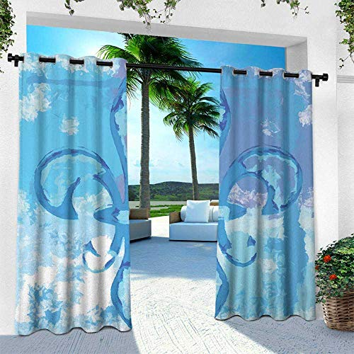 Fleur De Lis, Thermal Insulated Water Repellent Drape for Balcony,Illustration of Lily Flower Like Frozen Heredic Nobility Emblem Queenly Style Print, W120 x L108 Inch, Blue