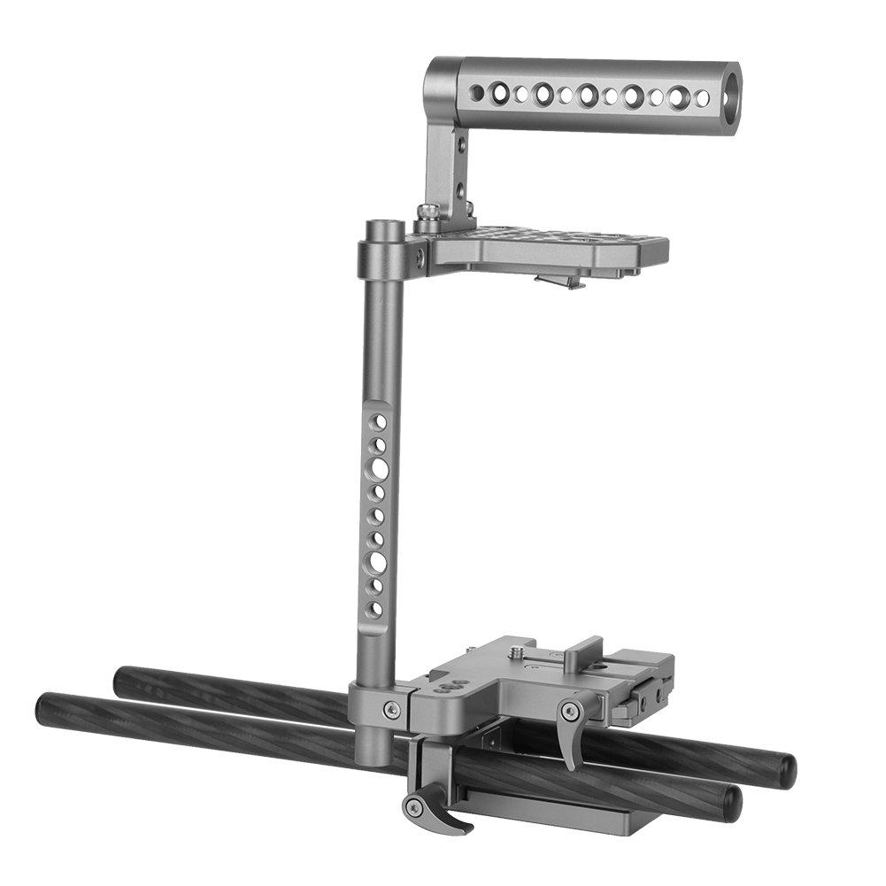 カメラ保護用ケージポータブルアルミニウム合金ビデオケージStabilizer Set withハンドルグリップfor DSLRビデオビデオカメラ   B074V67YN8