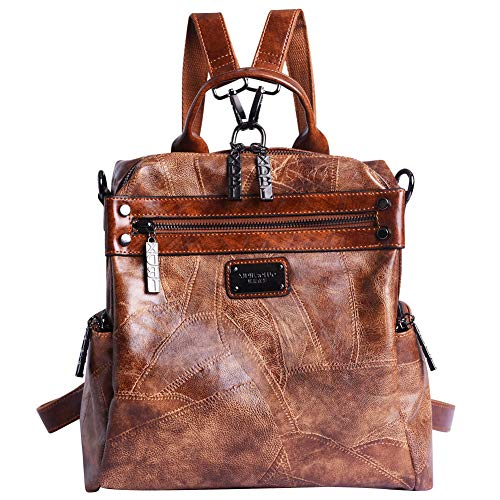Mini Backpack Purse for Women - AB Earth Convertible Waterproof Rucksack Faux Leather Backpack for Ladies Shoulder Bags, H003 (Brown)