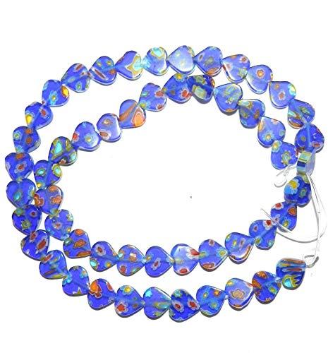 Cobalt Blue Multiple Color Flower 8mm Flat Heart Millefiori Glass Bead 15#ID-799 (Millefiori Heart Blue)