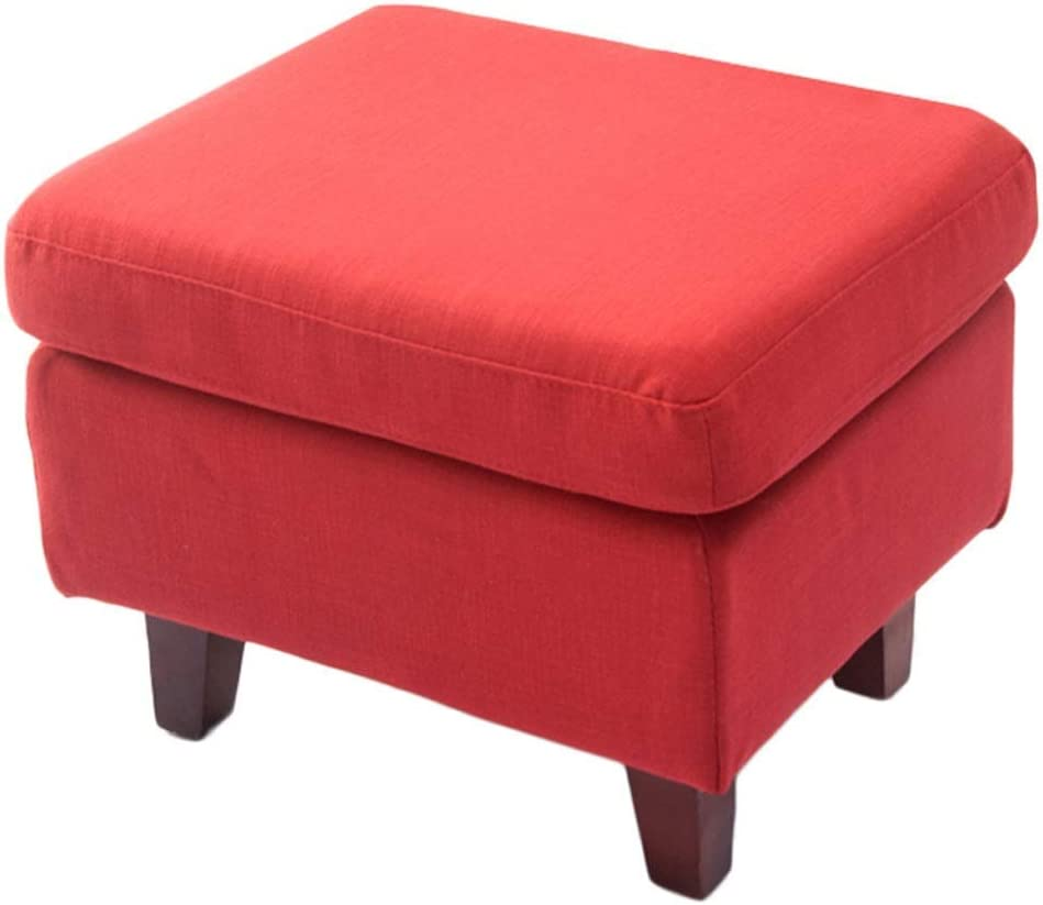 MTYLX Home Portable Step Stool,Stool Sofa Bench Fabric Living Room Shoe Store Bench Ottoman Height 55Cm,Red