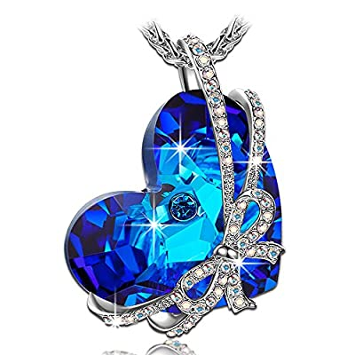 "QIANSE ""Heart of Ocean"" ?Valentines Day Gift? Necklace Made with Swarovski Crystals - Once in a lifetime gift"