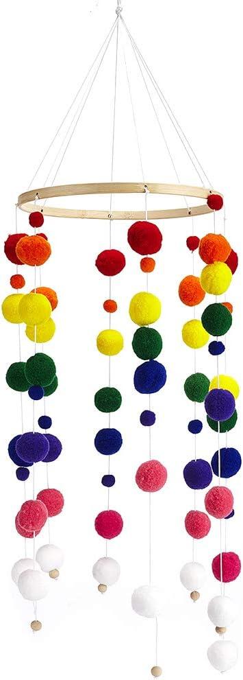 Arc En Ciel Manyo Mobile Suspendu B/éb/é Nordique Carillons /Éoliens Suspendus Accessoire Jouet Poussette Mobile de Lit B/éb/é Perles Bois Pompons Loisirs Creatifs