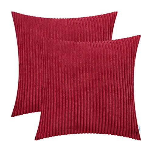 Throw Pillow Garnet - CaliTime Pack of 2 Cozy Throw Pillow Covers Cases for Couch Sofa Bed Comfortable Supersoft Solid Corduroy Striped Both Sides 20 X 20 Inches Scarlet Red