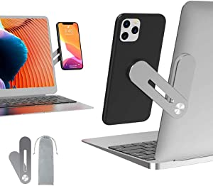 Side Mount Clip on Monitor Magnetic Laptop Phone Stand with Adjustable Cellphone Holder Computer Extension Bracket for iPhones and Smartphones