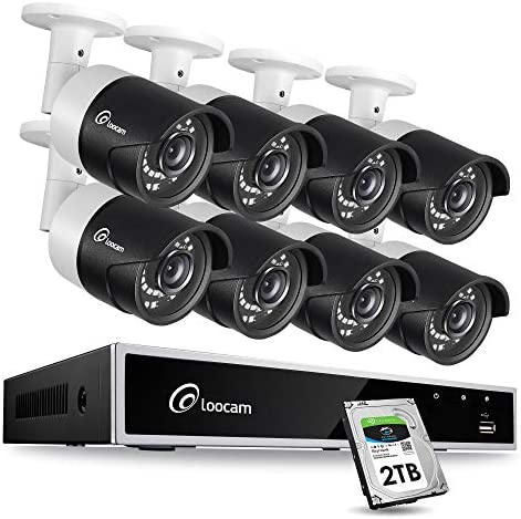Loocam 1080p Security Camera System, 8CH Video DVR Surveillance Kit and 8x2MP Outdoor Indoor IR Weatherproof CCTV Bullet Camera 150ft Night Vision 2TB HDD , Email Alert and Easy Remote Monitoring
