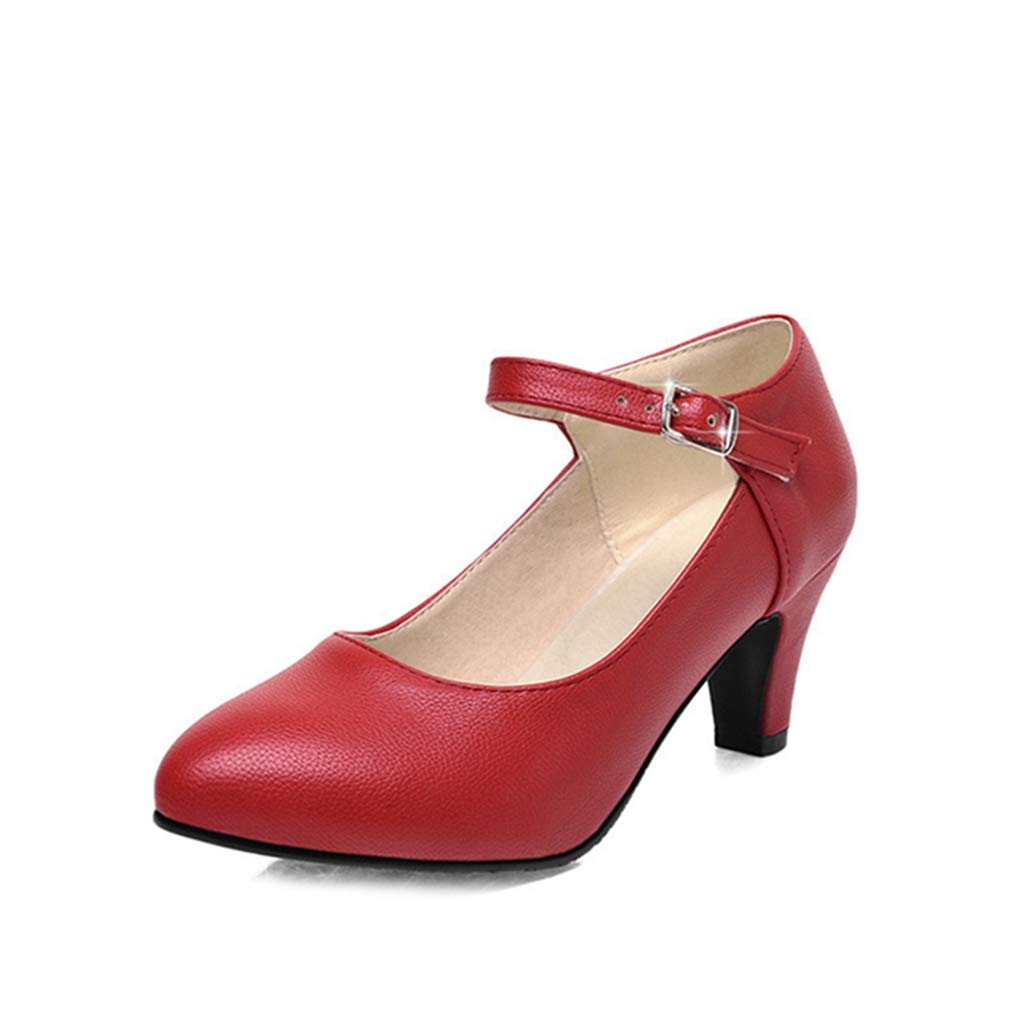 MIOKE Womens Mary Jane Pump Oxfords Pointed Toe Buckle Strap Leather Kitten Mid Heel Retro Dress Shoes
