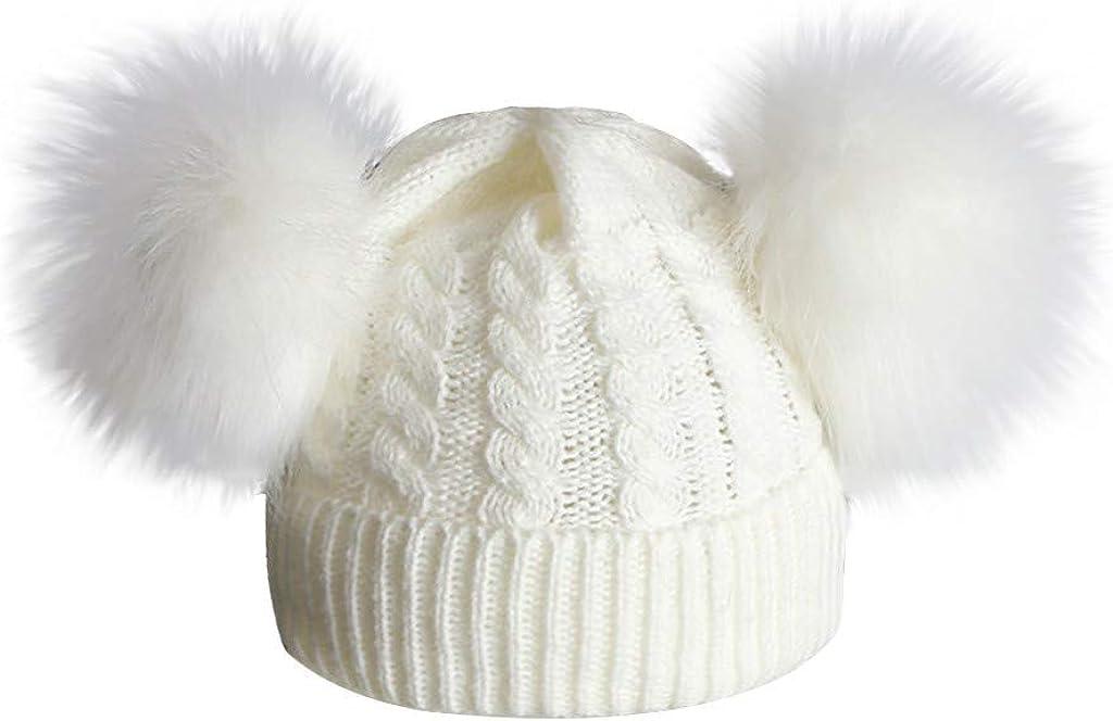Amaone Baby Caps Boys Girls 1-6 Years Old Winter Infant Double Pompom Hats Warm Soft Newborn Knitting Wool Hemming Beanie Hat
