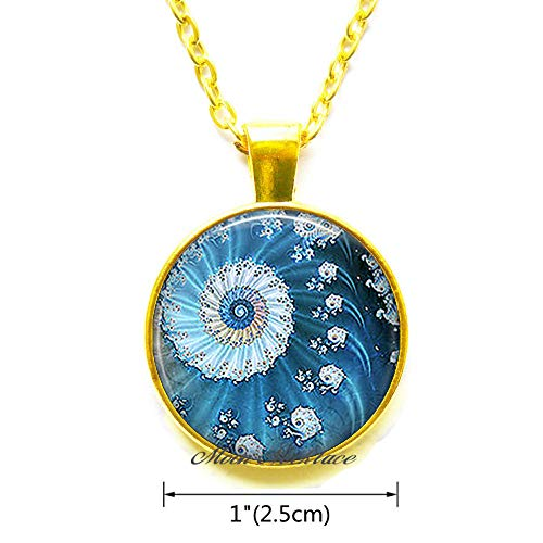 (Blue Ocean Fractal Necklace,Fractal Pendant,Fractal Art Necklace Ocean sea Necklace Math Necklace Mathematics gift-ZE239)